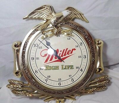 Vintage Miller High Life Beer Clock with Eagle - Battery Operated Zoizel Clock