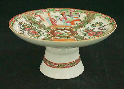 Antique Chinese Export Famille Rose Medallion Sweets Tazza Pedestal Compote 1850