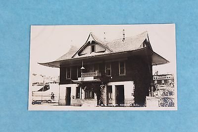 Vintage Rppc Real Photo Postcard Railroad Depot Train Station Sonora California
