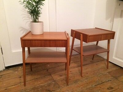 Danish mid-century teak bedside tables by AB Carlstrom c1960s