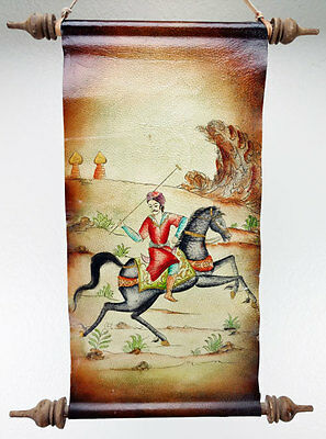 Hand painted polo Asian lambskin leather wall hanging play India drawing signed