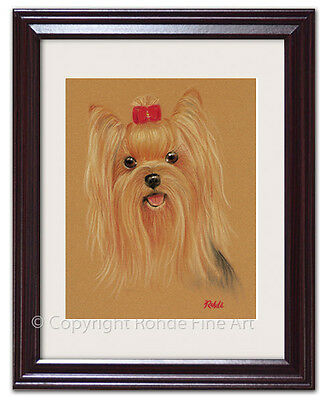 YORKIE - YORKSHIRE TERRIER FRAMED DOG ART - VERY CUTE - Rohde - Free Shipping