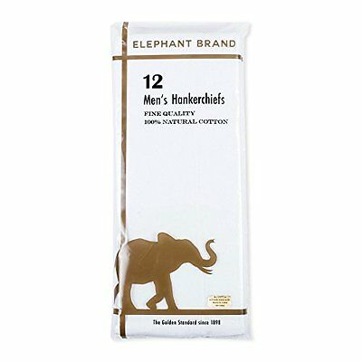 Elephant Brand 12 Pack Handkerchief 100% Fine Cotton