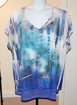 $40 LAVISH Blue/White Floral Flowy 2-PC Knit Top w/Rhinestone Accent SIZE 3X