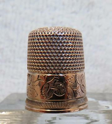 Antique 10 K Solid Gold Thimble Floral Motif    Size 6