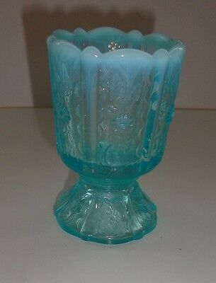 """Vintage 3 1/2"""" Tall Fenton Blue Opalescent Glass Egg Cup/toothpick Holder"""