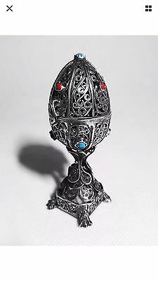 Antique Imperial Russian Solid Silver Filigree Egg – Lion Judaica 1873