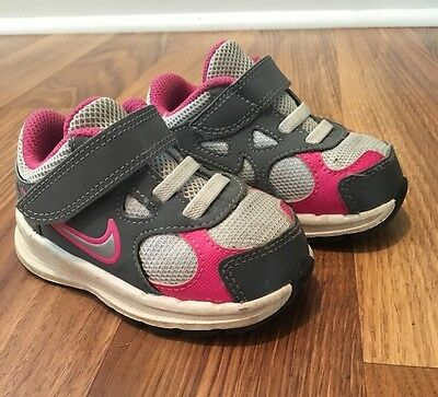 Baby Toddler Girls Nikes Sneakers Shoes Gray Pink Size 5C
