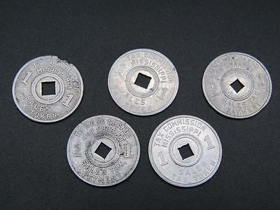 Vintage Tax Commission Mississippi Sales Tax Token 1   *Set of 5*