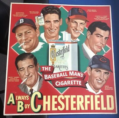 1948 Chesterfield Ad Original - The Baseball Man's Cigarette Advertising Display