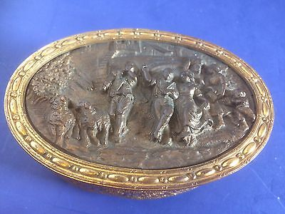 Vintage Made In France Real Bronze High Relief Trinket Box