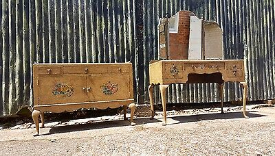 Antique Shabby chic French Louis style dressing table with mirror and low boy...