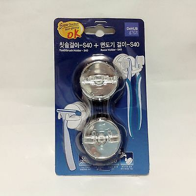 Tooth brush & Razor holder S40 with Super Suction Cups Easy Dehub Bathroom