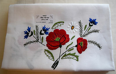 Linen Tablecloth with Makowski-embroidered colorful poppies. From Poland 5'x8'
