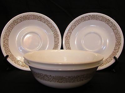 """Shatterproof CORNING CORELLE WOODLAND BROWN -- 2 CEREAL BOWLS + 2 SAUCERS 6 1/8"""""""