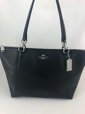 New COACH F57526 AVA Crossgrain Leather Tote Handbag Purse Shoulder Bag BLACK