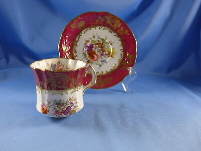 ORNATE HAMMERSLEY Cup & Saucer RED FLORAL  &  GOLD