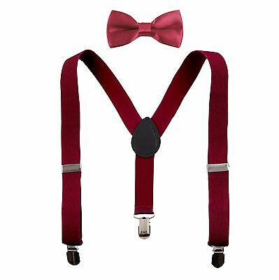 Kids Boys Suspenders and Solid Color Bow Tie Set Elastic Adjustable Unisex