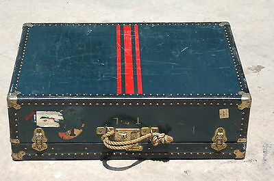 Vtg Taylor Fibre genuine Vulcanized Flat Top Steamer Storage Trunk Coffee Table