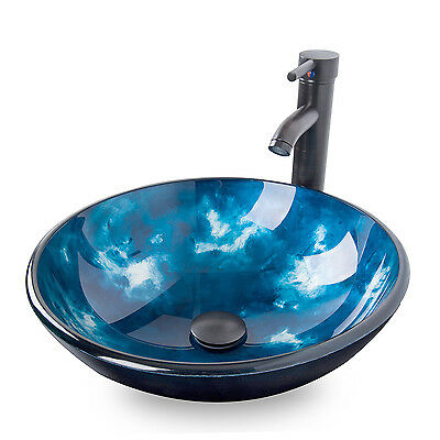 Bathroom Tempered Glass Round Ocean Blue Vessel Sink Faucet Pop Up Drain  Combo