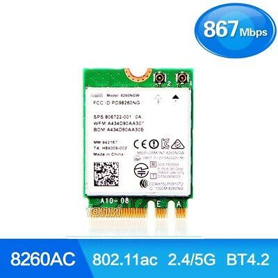 Intel 8260 AC Dual Band M.2 Wireless 8260NGW 2.4/5GHz BT Bluetooth Wifi Card