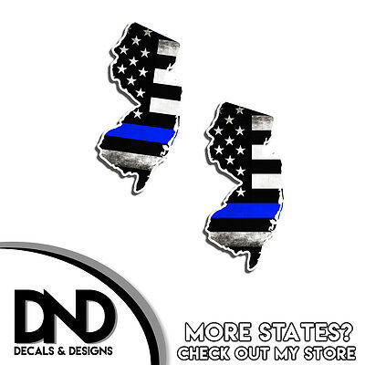 Louisiana State Police Blue Line Decal LA Tattered American Flag Sticker 2 Pack
