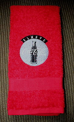 """""""Coca Cola"""" Sign Old Style Design 1 Red Hand towel  machine embroidered"""