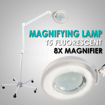 Magnifying Lamp Glass Lens Round Head Fluorescents Bulbs 8x Magnifier 5 Wheels