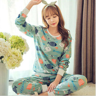 Women Girls Cotton Sleepwear Long Sleeve Pajamas Sets Cartoon Printing Suit Cute