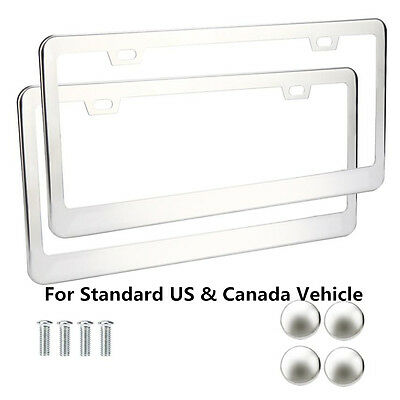 Pair Silver License Plate Frame Stainless Steel Polished + Bolts Caps for US Car