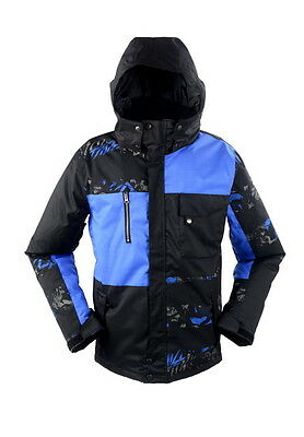RIDE Mens Snowboard Ski Jacket - Subtle Print on Black & Egyptian Blue Checks