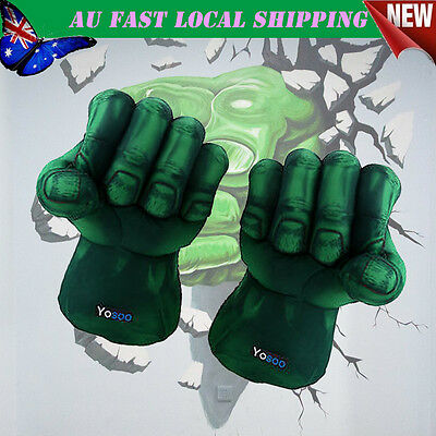 2X Incredible Hulk Gloves Smash Hand Plush Punching Boxing Fist Cosplay AU Stock