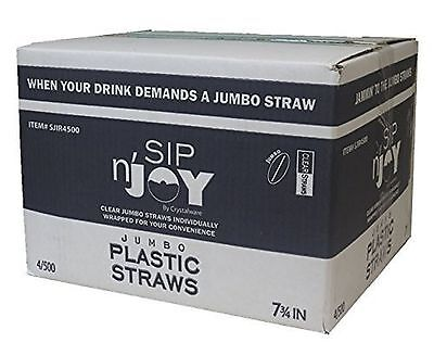 Crystalware Plastic Straws Individually Wrapped 2000/Case, Clear 7 3/4 inches