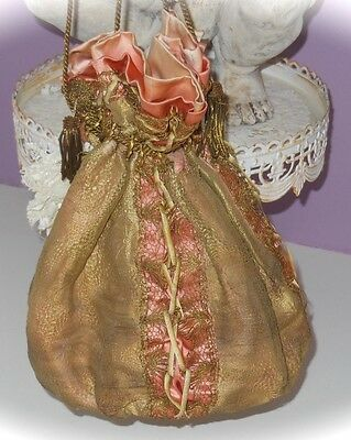 1880's VICTORIAN ANTIQUE Gold Lame Pink Satin LACE up RIBBON Drawstring PURSE!!