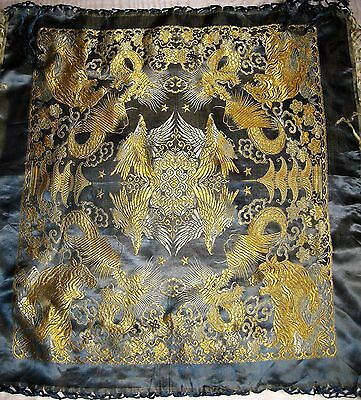 Antique Chinese Silk Brocade Embroidery Tablecloth