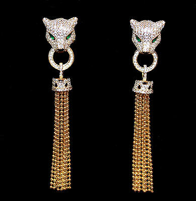 Chandeliers with Panther and Tassel,Zirconia Yellow gold from