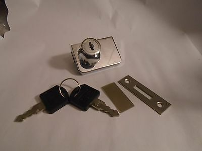 New Single Door Cylinder Rim Security Lock W/ 2 Keys For Glass Cabinet