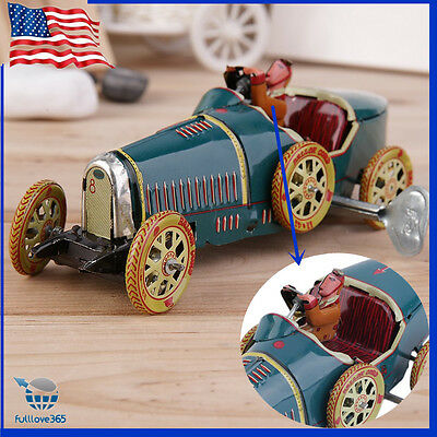 Vintage Metal Tin Sports Car with Driver Clockwork Wind Up Toy Collectible Funny