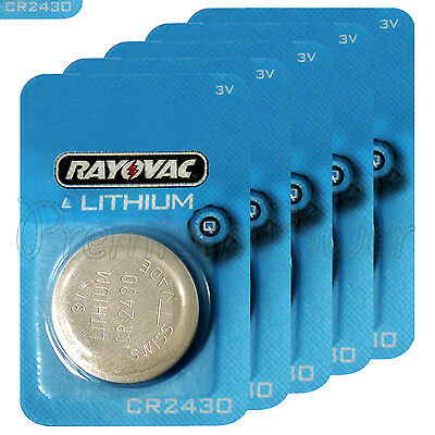 5 x Rayovac CR2430 batteries Lithium 3V Coin cell Watch ERC2430 BR2430