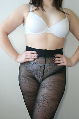 M&S Autograph Luxury Floral Lace Pantyhose Tights Collant Black Small RRP £9.50