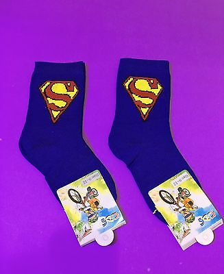 2 Pairs Superman Boys Girls Kids Birthday Party Socks Blue Color Size 9-12