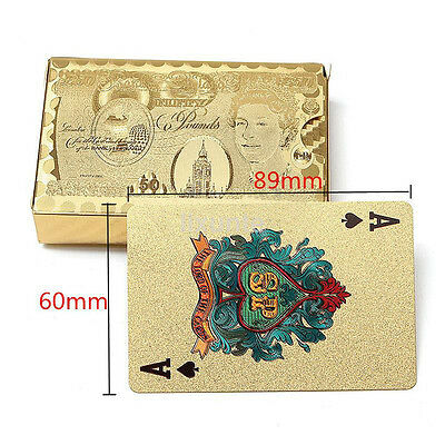 24K Luxury Gold Foil Poker Playing Cards Deck Magic Plastic Waterproof Poker UK