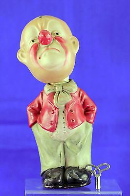 Vintage Japanese Celluloid Wind Up Clown Red Coat With Key Working Condition