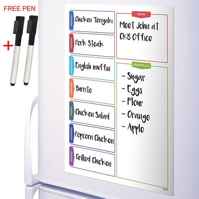 A3 Magnetic Whiteboard Weekly Planner Board for Refrigerator + 2 Dry Erase Pens