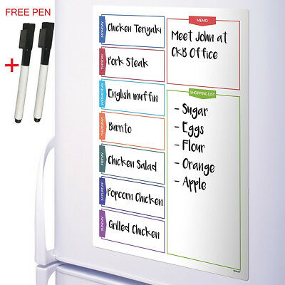 A3 Magnetic Whiteboard Weekly Planner Fridge White Board+ 2 Dry Erase Markers