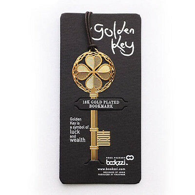 Lucky Gold Four-leaf Key Clover Reading Clip Bookmark Book Mark Note Strip