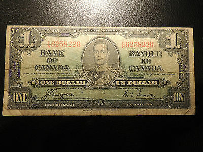 1937 BANK OF CANADA $ 1 ONE DOLLAR D/N 6258229 COYNE TOWERS BC-21d
