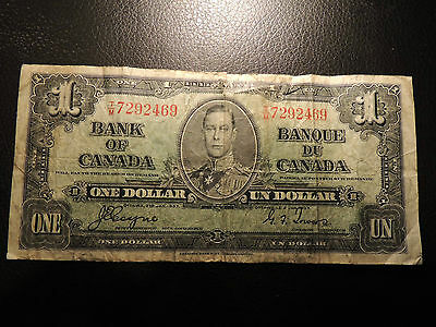 1937 BANK OF CANADA $ 1 ONE DOLLAR T/M 7292469 COYNE TOWERS BC-21d