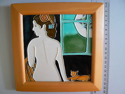 art coloured tile painting wall hanging or standing picture framed