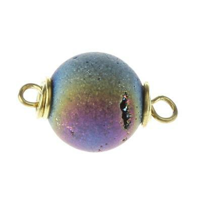 Open Mouth Agate Beads Geode Gemstone Pendant Round 2 Holes for Necklace DIY